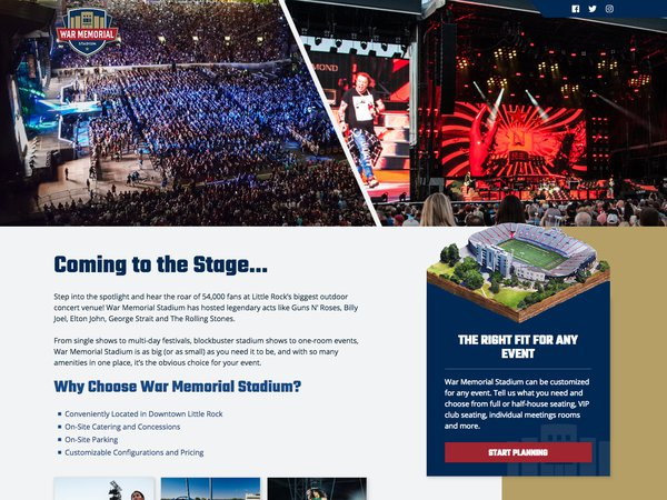 War Memorial Stadium Landing Pages